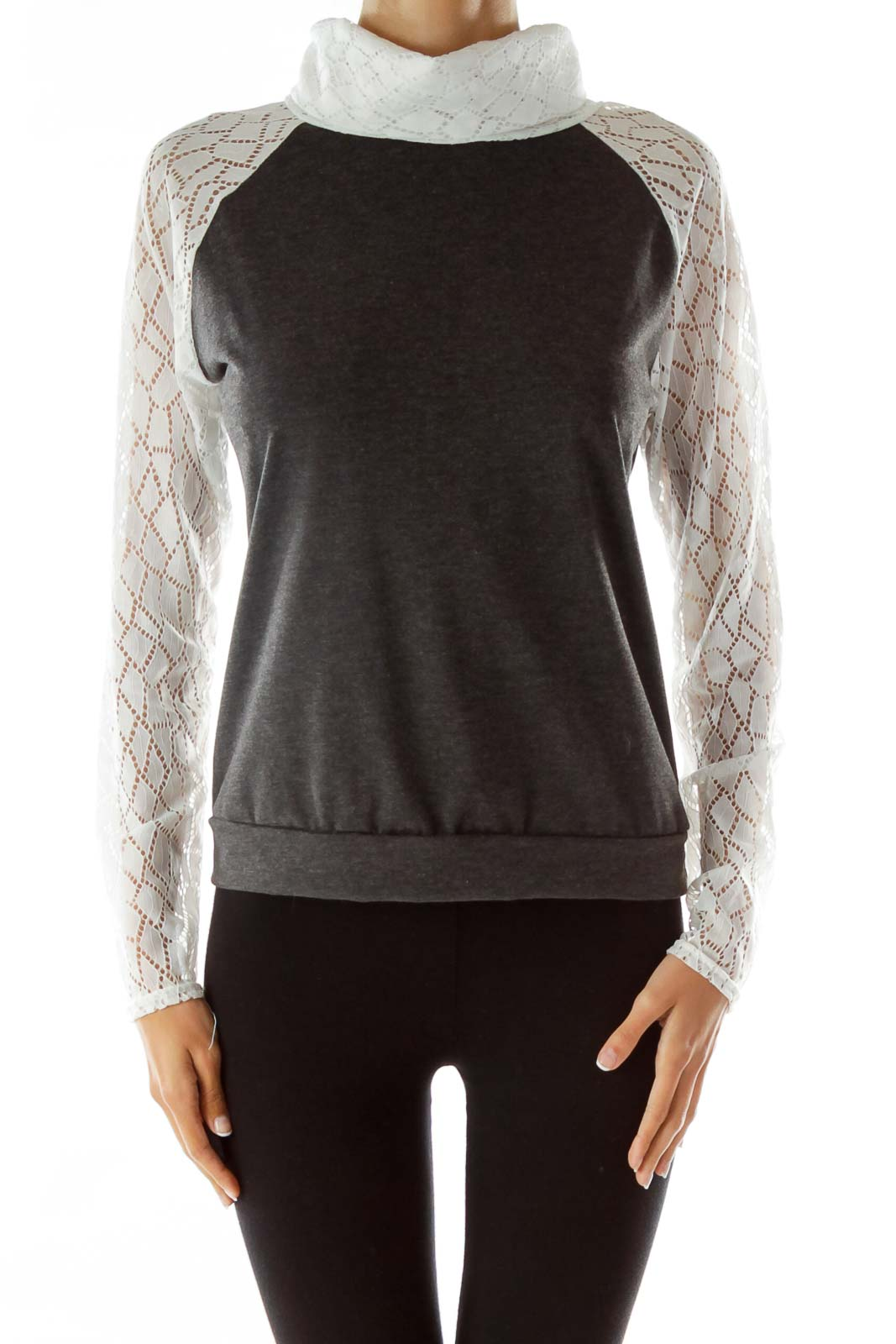 Gray Top with White Lacey Turtle-Neck