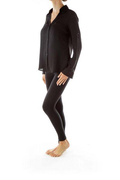 Black Sheer Pocketed Shirt