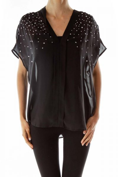 Black Silver Studded Blouse