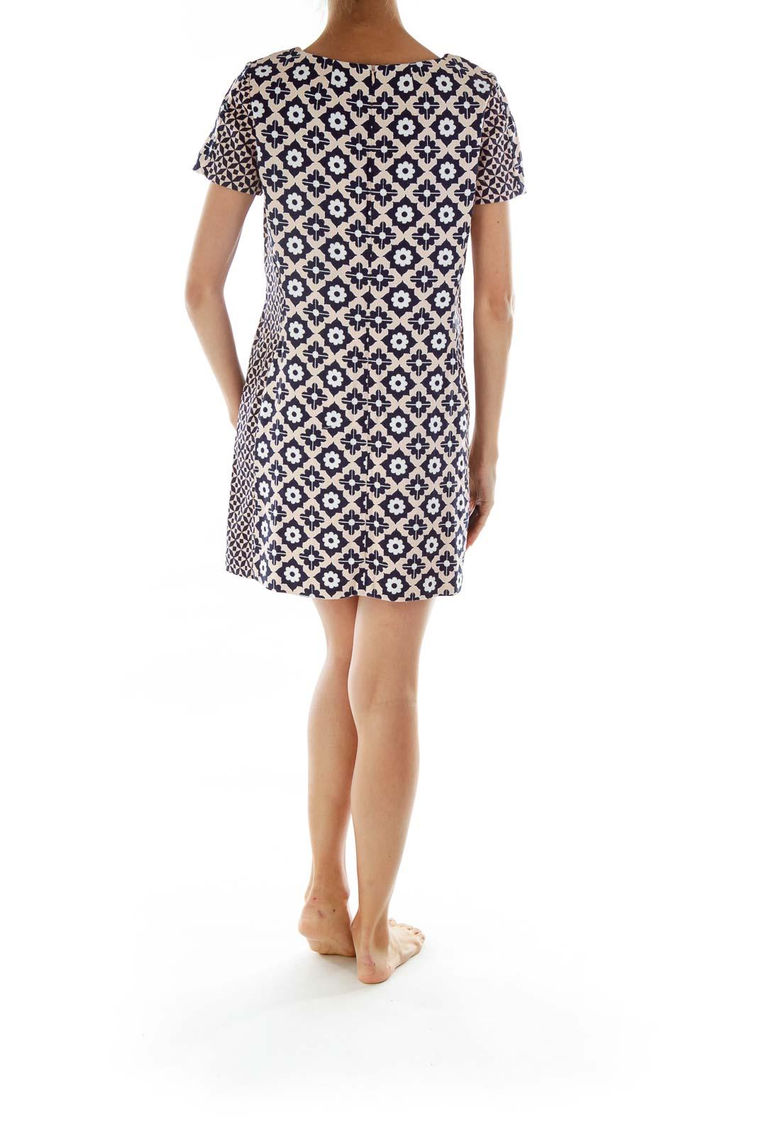 Cream Navy Print Shift Dress