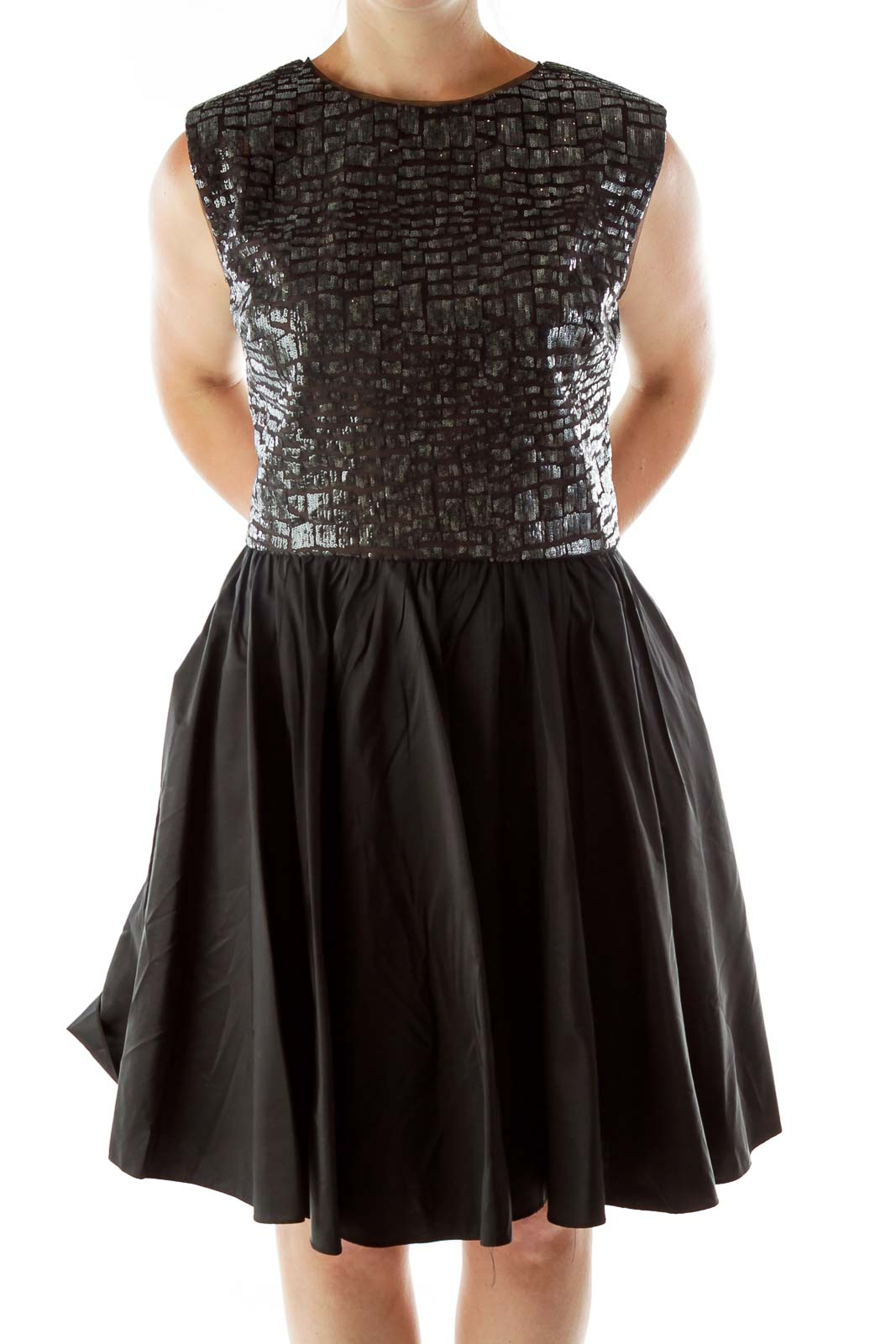 Black Sequined Open Back Evening Dress