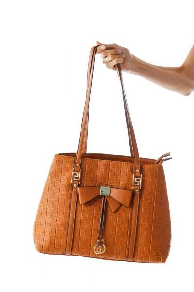 Brown Embossed Shoulder Bag w/ Bow