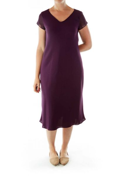 Purple V-Neck Midi Dress