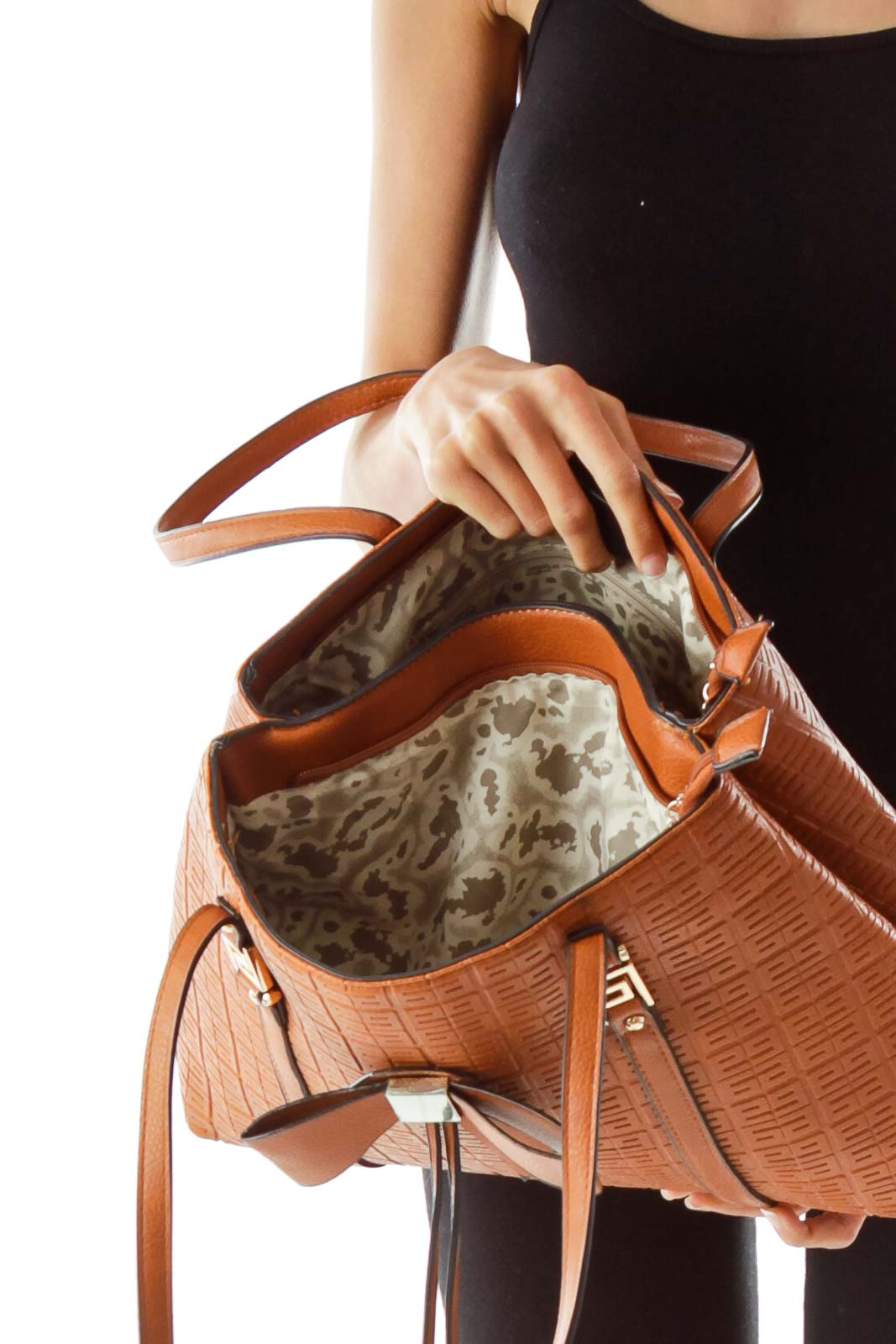 Brown Embossed Shoulder Bag w/ Bow