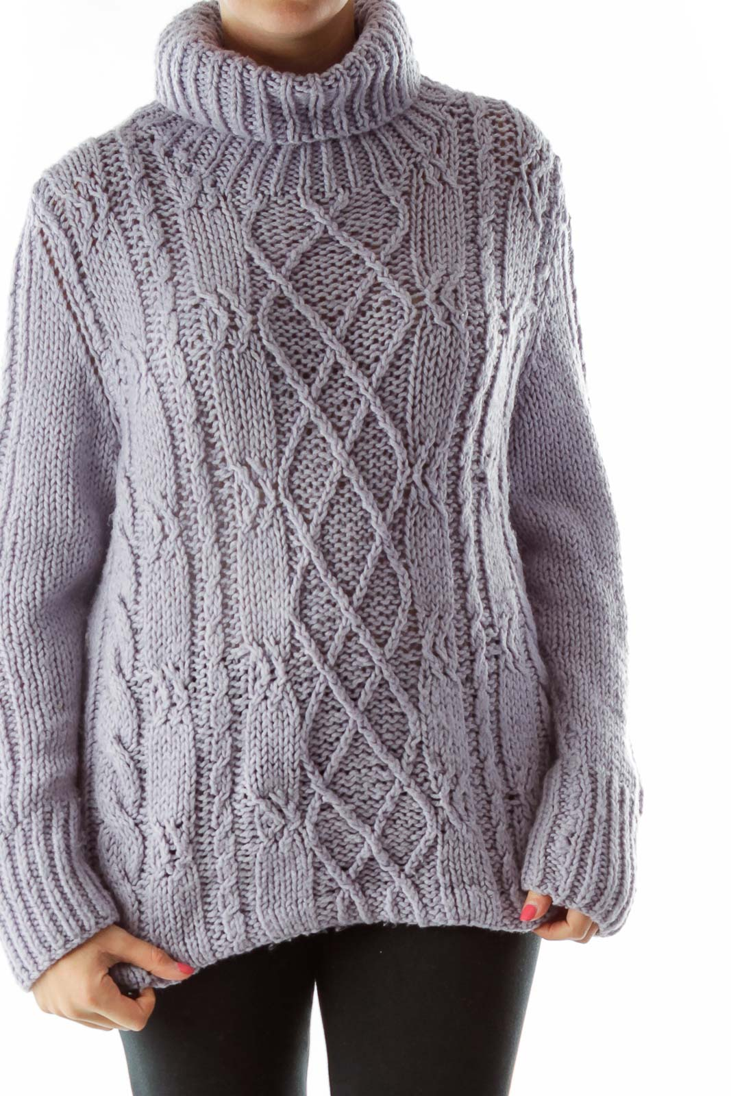 Lavender TurtleNeck Cable-Knit Sweater