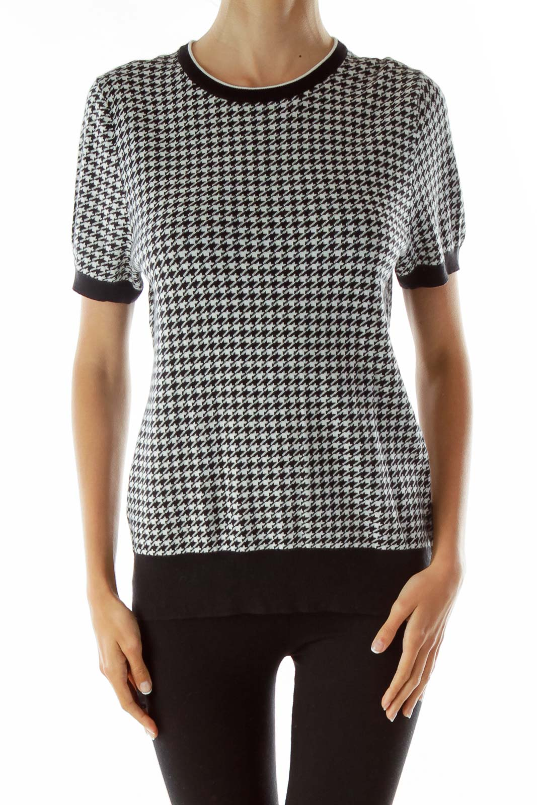 Black White Houndstooth Print Knit