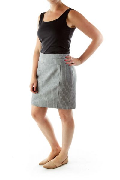 Gray White Striped Pencil Skirt