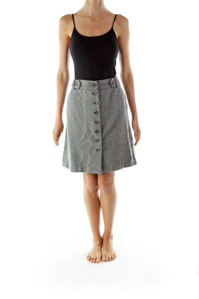 Gray Tweed Buttoned Skirt