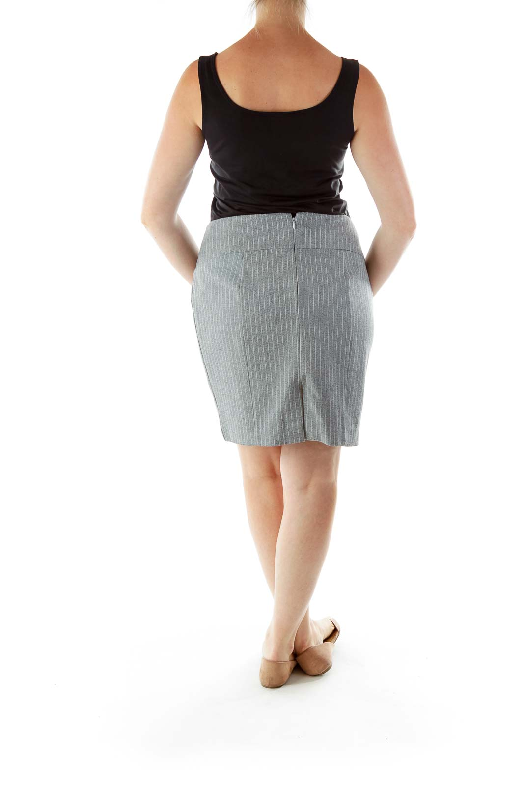 Gray White Striped Pencil Skirt