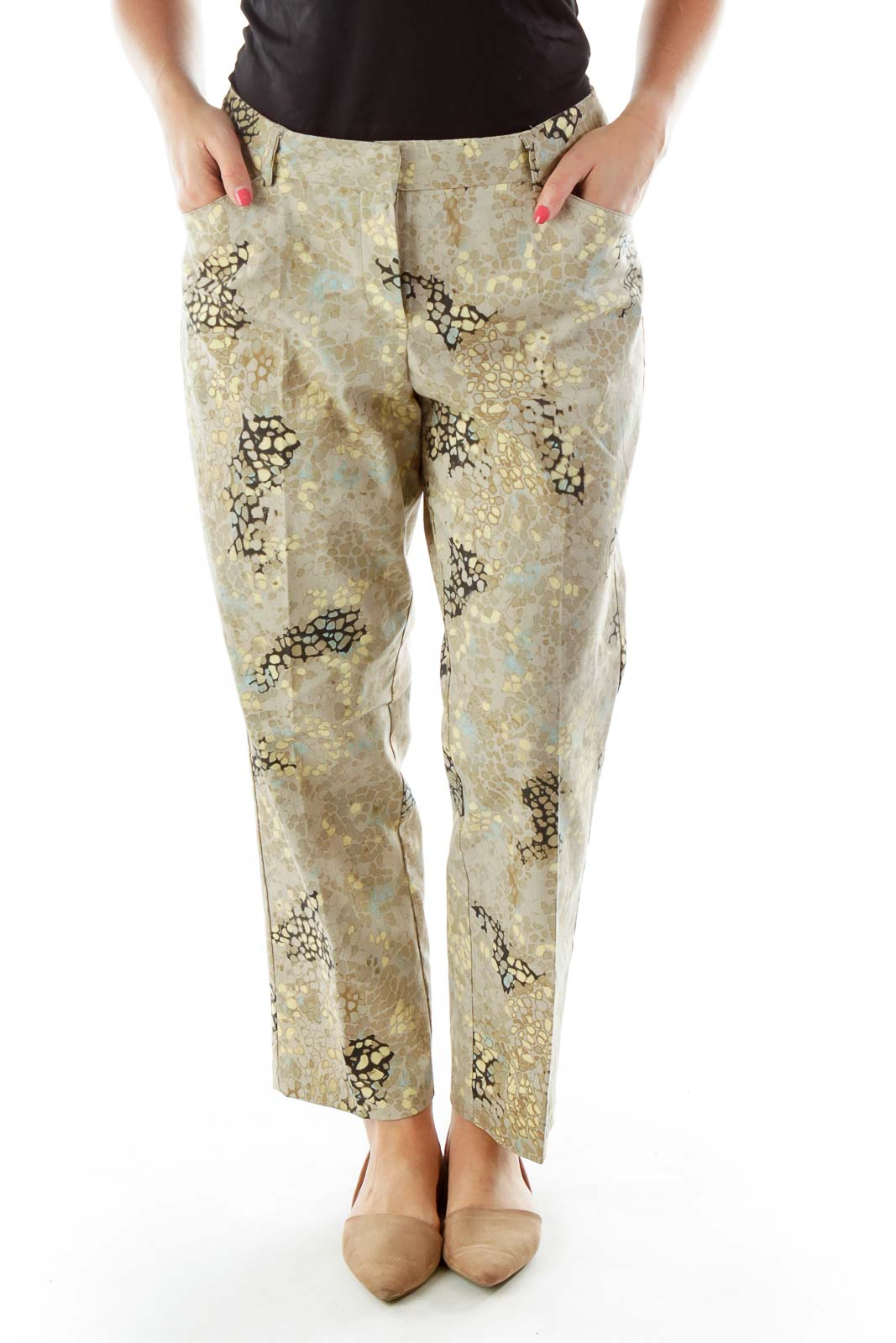 Multicolor High-Waisted Snake Skin Print Pants