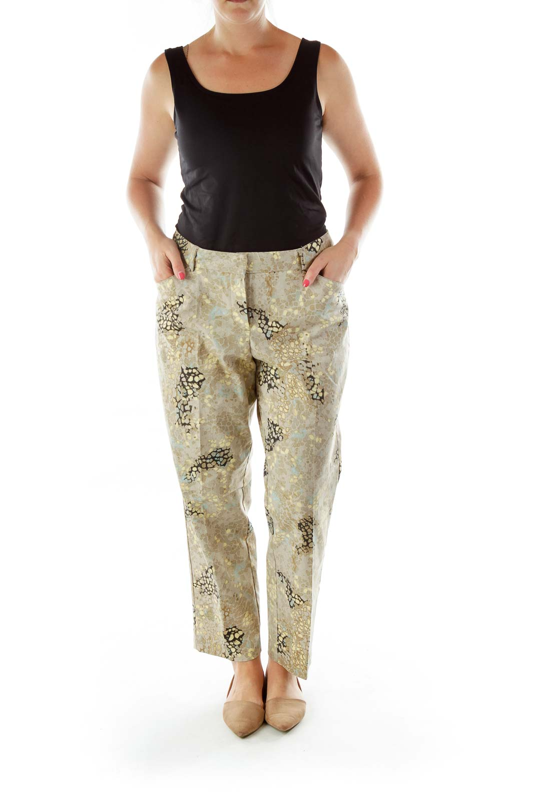 Multicolor High-Waisted Snake Skin Print Pants