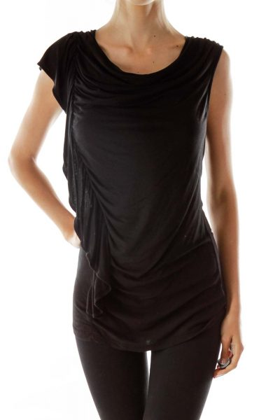 Black Asymmetric Ruffled Top