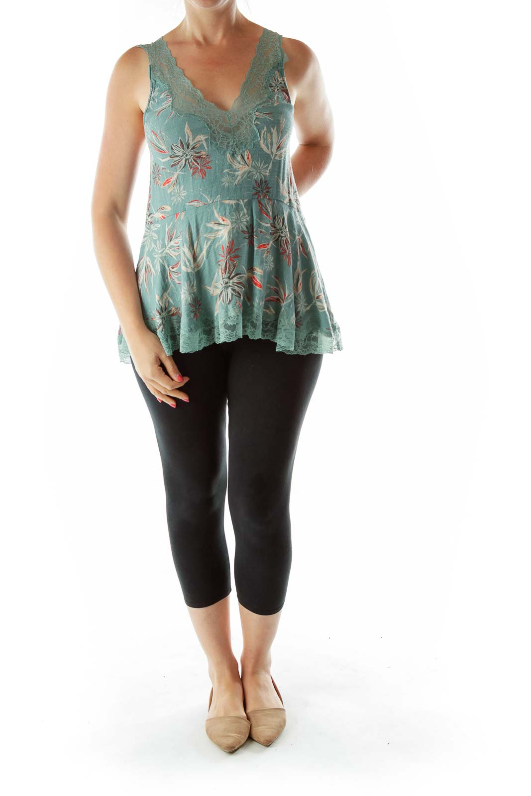 Green Lace Red Flower Top