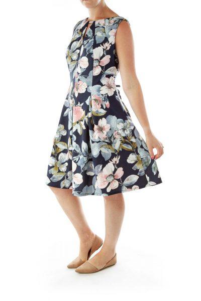 Navy Pink Flower A-Line Dress