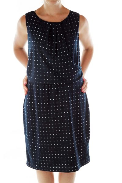Navy White Asymmetric Polka-Dot Dress