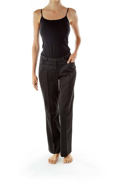 Black Faux-Satin Slacks