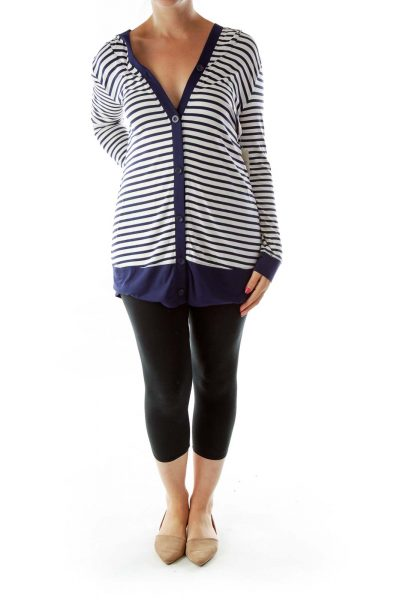 Navy White Stripe Hooded Top