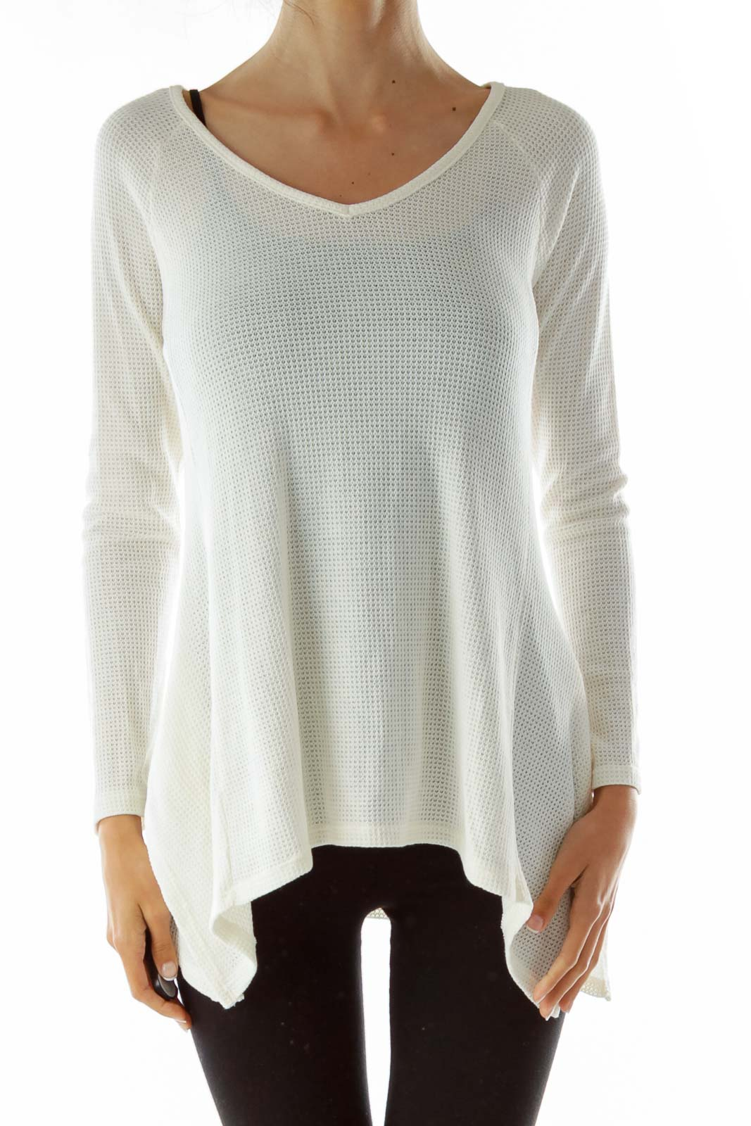 Cream Crocheted Knit Sweater