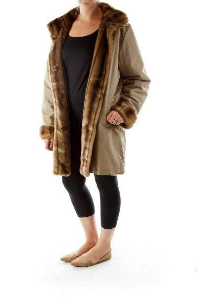 Brown Faux-Fur Buttoned Reversible Coat
