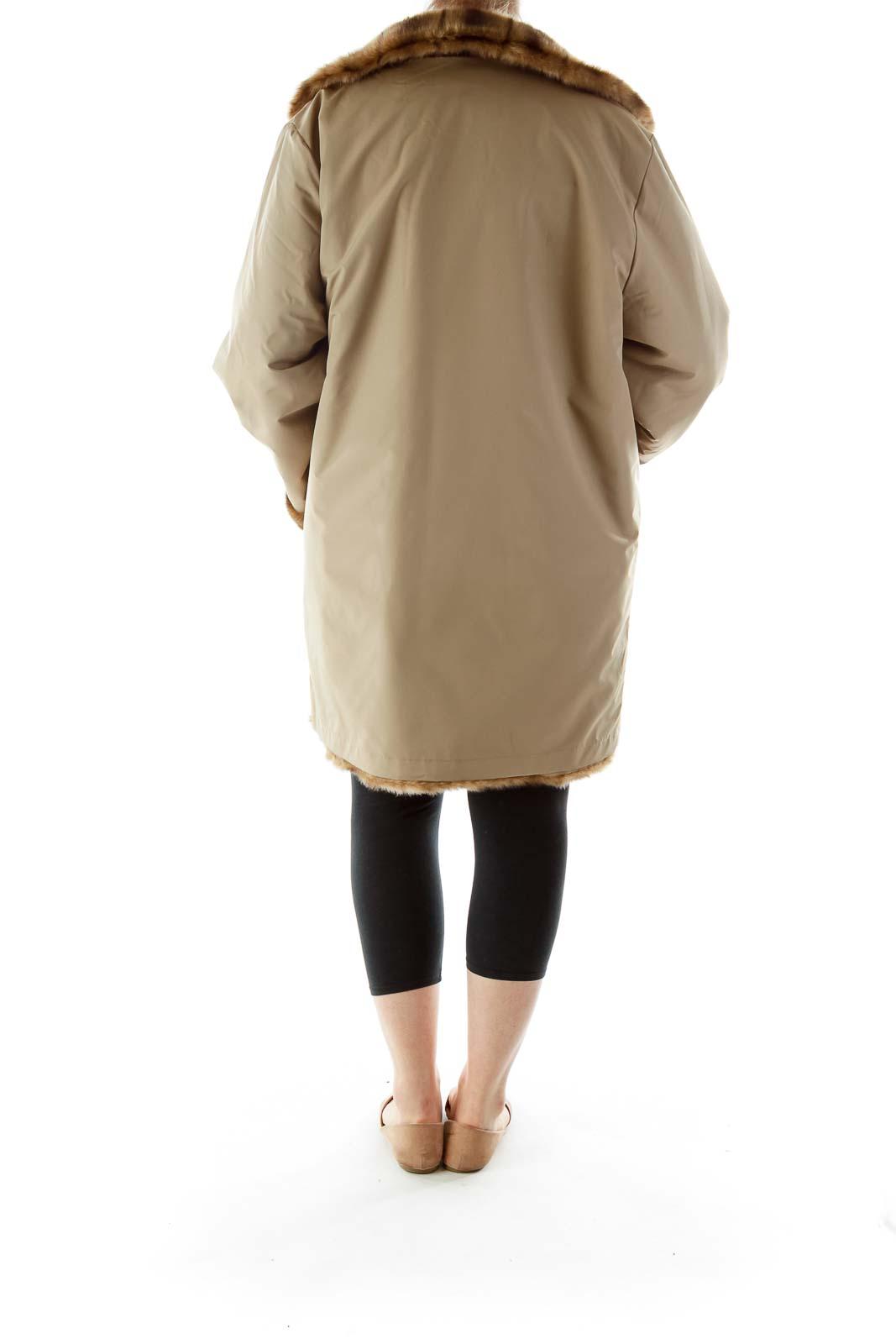 Brown Faux-Fur Buttoned Reversible Coat