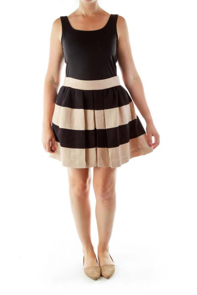 Pink Black Striped Pleated Skirt