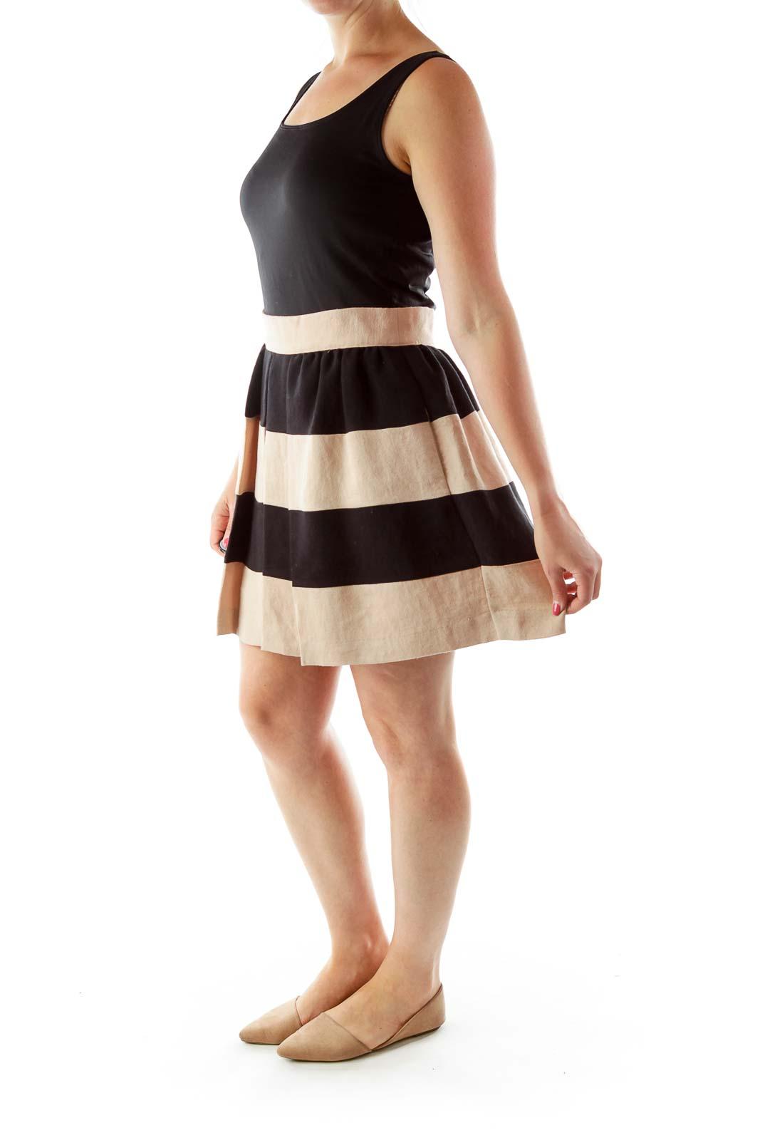 Pink Black Striped Pleated Skirt