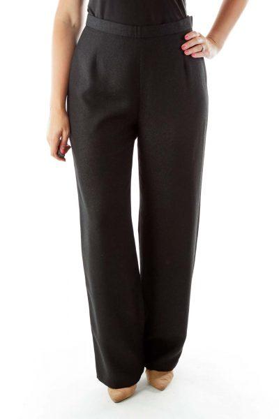 Black Wide Leg Shimmer Slacks