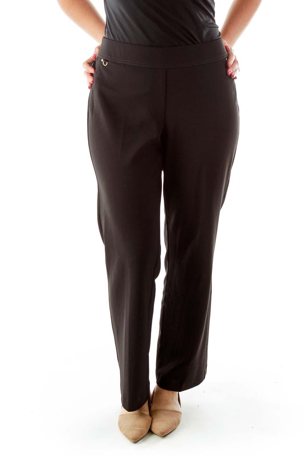 Black Elastic Waist Straight Fit Pants