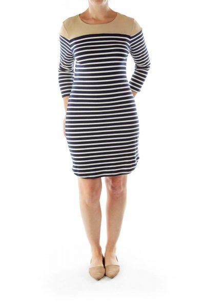 Navy Cream Beige Striped Dress