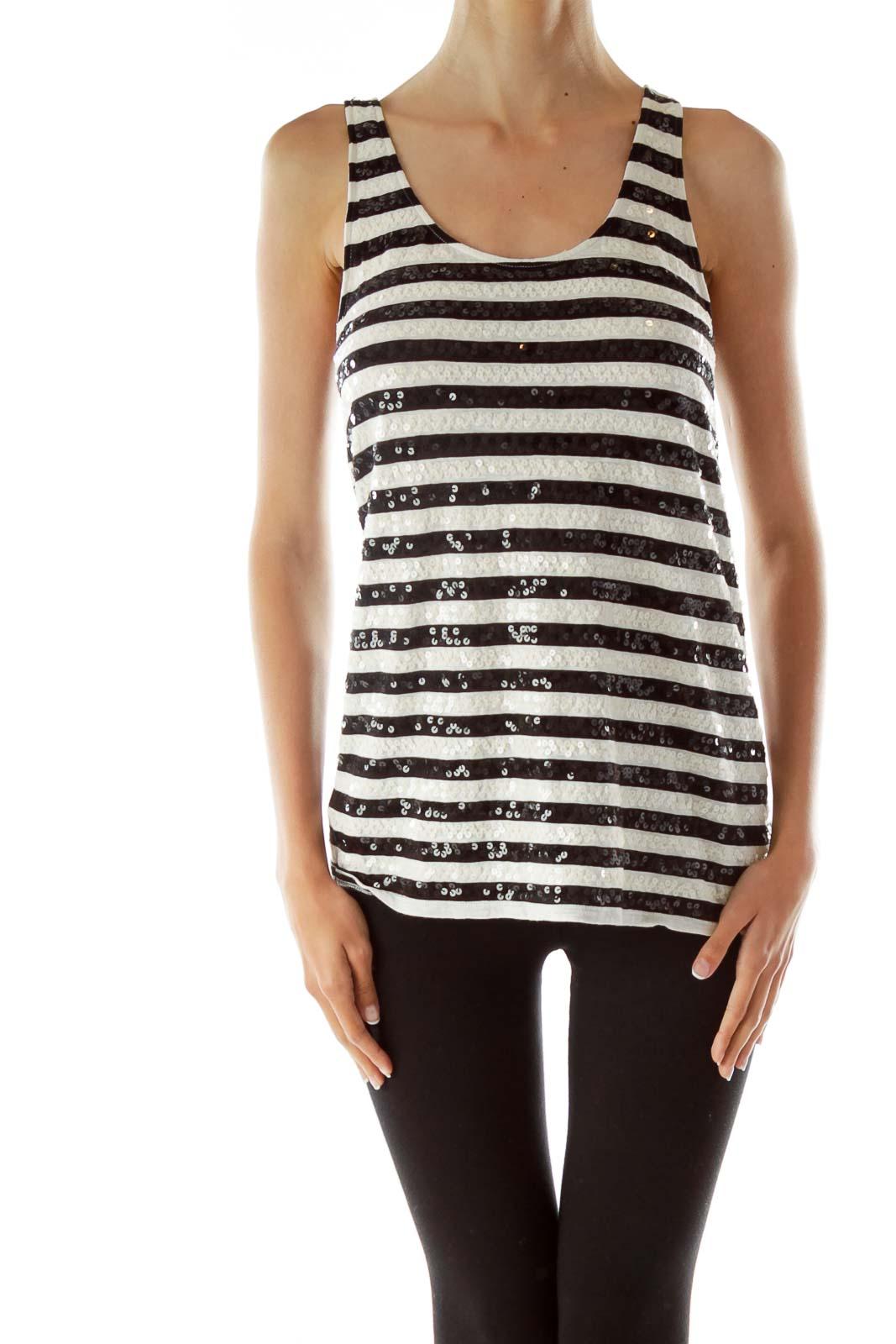 b8dbb72dd7ed84 Shop Black White Striped Sequined Tank Top clothing and handbags at ...
