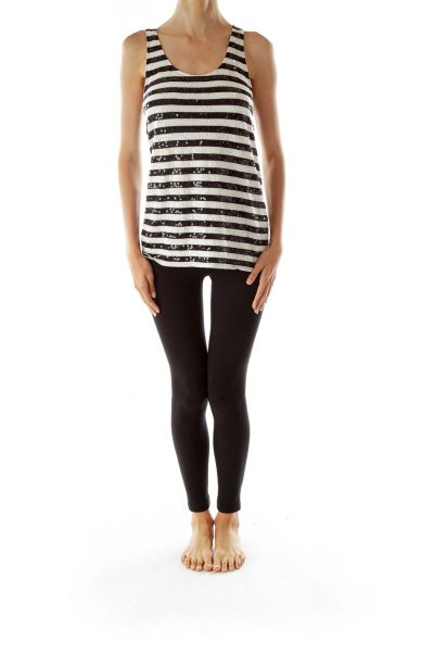 Black White Striped Sequined Tank Top