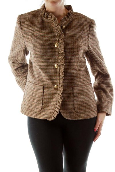 Brown Houndstooth Ruffled Tweed Jacket