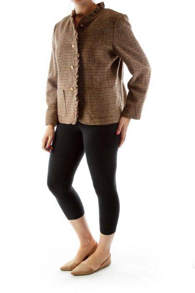 Brown Houndstooth Ruffled Tweed Jacket