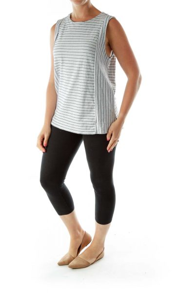 Gray Navy Striped Shift Top