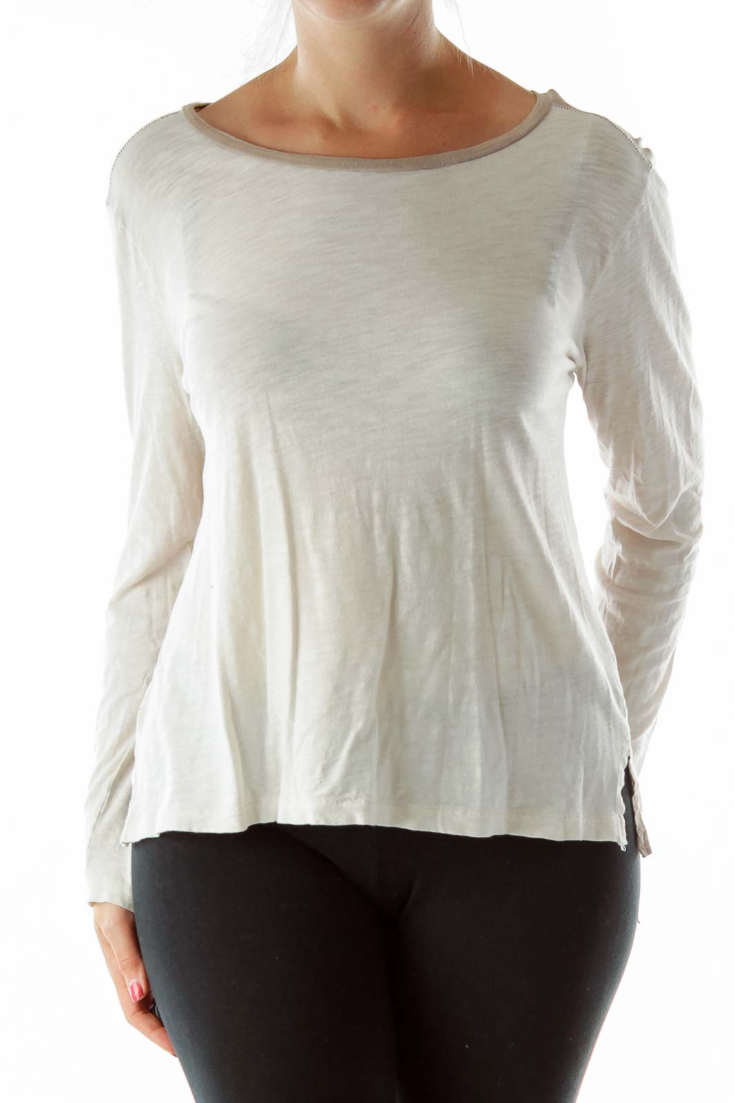 Beige Cream Stitched Loose T-Shirt