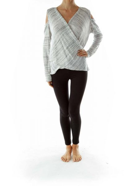 Gray White Wrap Top w/ Slitted Shoulders