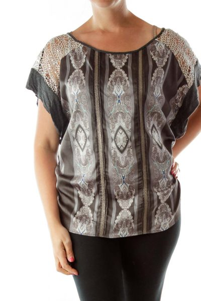 Grey Sparkly Scrunched Sequined Top