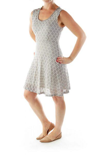Gray Cream Crocheted Day Dress