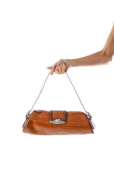 Brown Alligator Faux-Leather Shoulder Bag