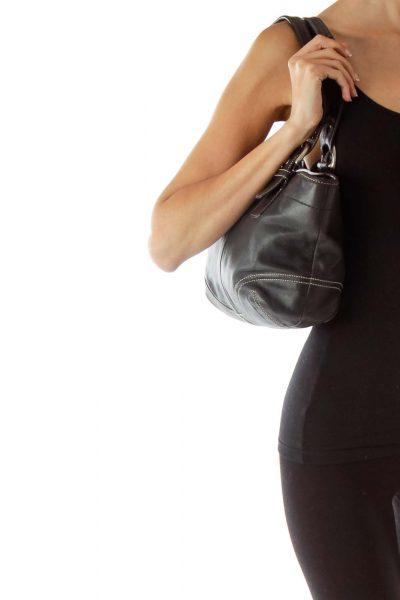 Black Stitched Shoulder Bag