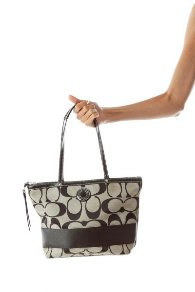 Black Beige Embroidered Tote