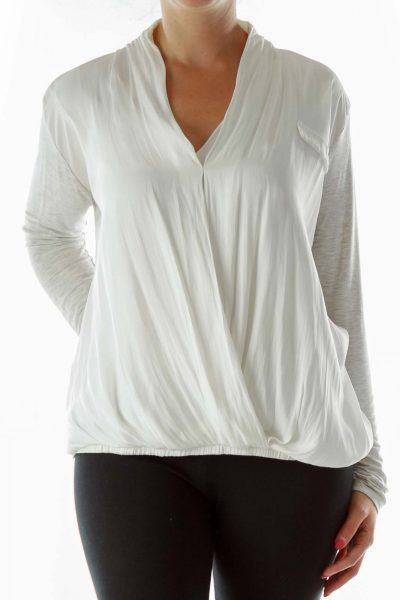 White Gray V-Neck Blouse