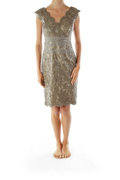 Gray Sequined Embroidered Cocktail Dress
