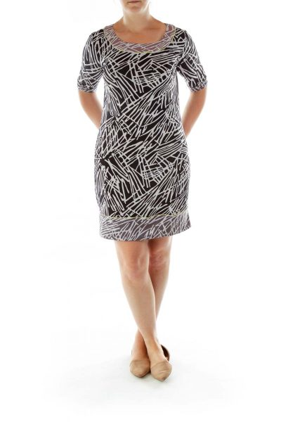 Black White Printed Shift Dress