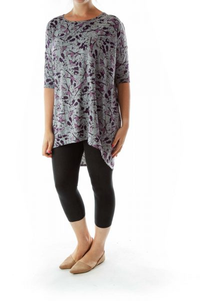 Gray Purple Mickey Mouse Print Tunic