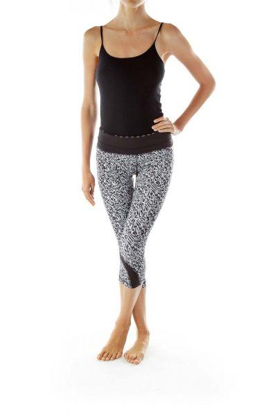 Black White Print Yoga Pants