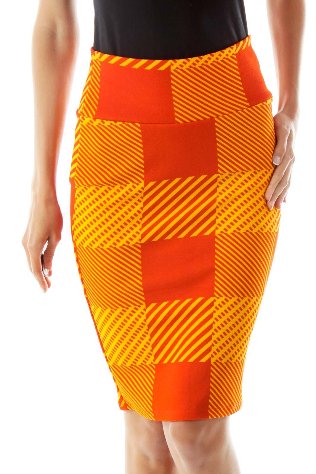 Orange Yellow Printed Pencil Skirt