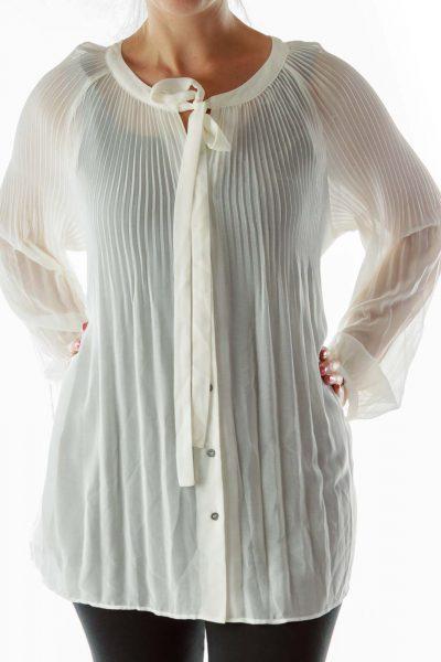 Cream Pleated Sheer Shirt