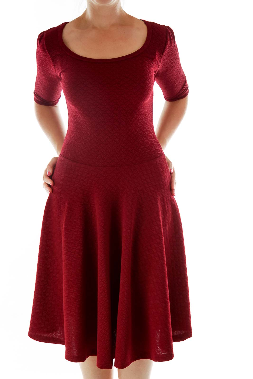 Maroon Textures Midi Dress