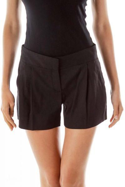 Black Linen High-Waisted Short